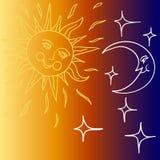 Vector a ilustração da lua e do Sun com faces ilustração do vetor