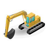 Vector a ilustração da máquina escavadora, construção isométrica fotografia de stock