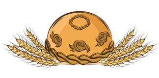 Vector a ilustração da mão colorida que tira em volta do pão e das orelhas Imagem de Stock Royalty Free