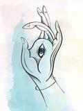 Vector a ilustração da mão da Buda com olho Fotografia de Stock