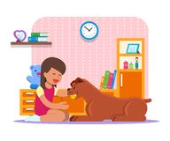 Vector a ilustração da menina que joga com seu cão em casa ilustração stock