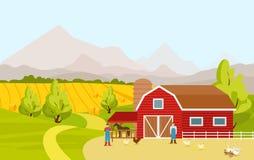Vector a ilustração da paisagem do campo da montanha com o celeiro da exploração agrícola, campos, os povos e os animais de explo ilustração royalty free