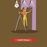 Vector a ilustração da parede da pintura da mulher no estilo liso Fotos de Stock Royalty Free