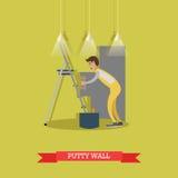 Vector a ilustração da parede puttying do estucador no estilo liso Fotos de Stock Royalty Free