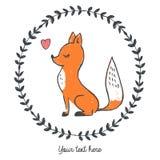 Vector a ilustração da raposa tirada mão dentro do quadro floral redondo com coração ilustração do vetor
