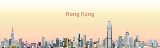 Vector a ilustração da skyline da cidade de Hong Kong no nascer do sol ilustração stock