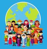 Vector a ilustração das crianças nacionais multiculturais, povos na terra do planeta Imagem de Stock