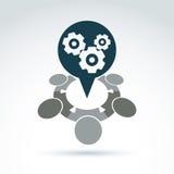 Vector a ilustração das engrenagens - tema do sistema da empresa, organiza Imagens de Stock