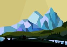 Vector a ilustração das montanhas ajardinam no estilo geométrico, baixo Mountain View liso poli ilustração do vetor