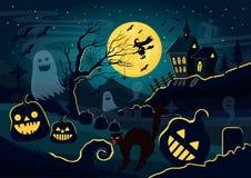Vector a ilustração das silhuetas dos fantasmas, as abóboras, a bruxa, gato assustador e outras criaturas e decorações diferentes ilustração do vetor