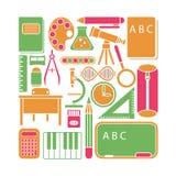 Vector a ilustração de ícones e de elementos da escola no estilo liso dos desenhos animados ilustração royalty free