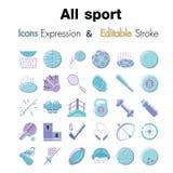 Vector a ilustração de ícones editáveis do curso para o vetor Li do esporte ilustração do vetor