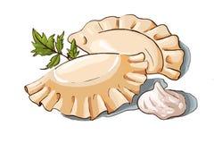 Vector a ilustração de bolinhas de massa, de creme de leite e de salsa de um par Foto de Stock