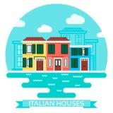 Vector a ilustração de casas de um italiano perto da água no estilo liso Curso e turismo ilustração royalty free