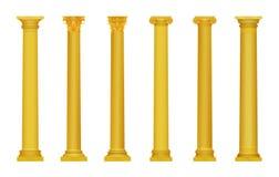 Vector a ilustração de colunas antigas de roma do grego detalhado alto realístico dourado Coluna luxuosa do ouro Fotografia de Stock Royalty Free