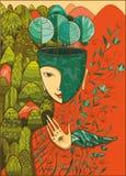 Vector a ilustração de cor da deusa da mãe Natureza Foto de Stock