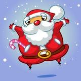 Vector a ilustração de desenhos animados do Natal do salto de Santa Claus Foto de Stock