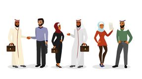 Vector a ilustração de homens e de mulheres árabes dos desenhos animados na roupa e em caráteres diferentes, homens de negócios m ilustração stock