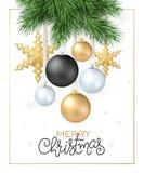 Vector a ilustração de ramos do abeto com os ornamento do Natal e as estrelas e o cumprimento de suspensão da etiqueta da rotulaç Foto de Stock Royalty Free