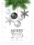 Vector a ilustração de ramos do abeto com os ornamento do Natal e as estrelas e o cumprimento de suspensão da etiqueta da rotulaç Fotografia de Stock Royalty Free