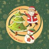 Vector a ilustração de Santa Claus, do boneco de neve e da árvore de Natal Foto de Stock