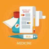Vector a ilustração de serviços dos cuidados médicos, monitoração de saúde, Imagens de Stock
