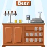 Vector a ilustração de um contador com cerveja da parte do vendedor com um sistema de fornecer diversos tipos da cerveja, um cash ilustração royalty free