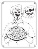 Vector a ilustração de um cozinheiro chefe mestre da pizza que mantém a pizza disponivel com avental e cozinha o chapéu Fotografia de Stock