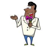 Emcee do anfitrião dos desenhos animados com microfone ilustração royalty free