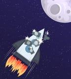Vector a ilustração de um foguete de espaço com os turistas e as câmeras que voam à lua Imagem de Stock