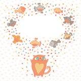 Vector a ilustração de um gato bonito e de pássaros. Cartão  ilustração royalty free