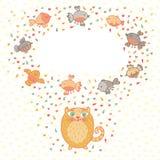 Vector a ilustração de um gato bonito e de pássaros. Cartão  ilustração do vetor
