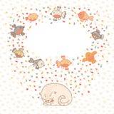 Vector a ilustração de um gato bonito e de pássaros. Cartão  Imagens de Stock