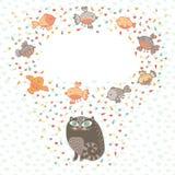 Vector a ilustração de um gato bonito e de pássaros. Cartão  Fotografia de Stock Royalty Free