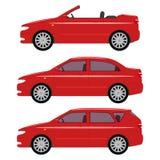 Vector a ilustração de um grupo de carros do vermelho dos desenhos animados Imagem de Stock Royalty Free