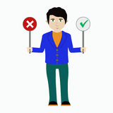 Vector a ilustração de um homem com sinais do yes e do não Foto de Stock Royalty Free