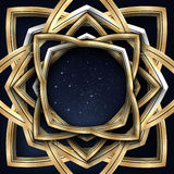 Vector a ilustração de um quadro dourado do vintage com o céu estrelado da noite dentro dele no preto Foto de Stock Royalty Free