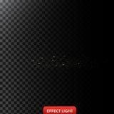 Vector a ilustração de um raio claro dourado com brilho, um feixe luminoso com faíscas Imagem de Stock