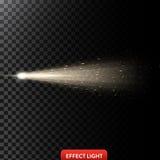 Vector a ilustração de um raio claro dourado com brilho, um feixe luminoso com faíscas Fotos de Stock