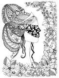 Vector a ilustração de um zentangle da princesa da menina com máscara em sua cara, quadro floral, garatuja do teste padrão do cab Imagem de Stock