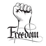 Vector a ilustração de uma elevação guardada punho apertada no protesto com liberdade escrita à mão da palavra Imagem de Stock Royalty Free