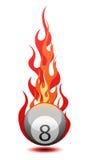 Vector a ilustração de uma esfera de bilhar no incêndio Fotografia de Stock Royalty Free