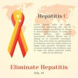 Vector a ilustração de uma fita para o dia da hepatite do mundo Foto de Stock Royalty Free