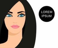 Vector a ilustração de uma menina bonita com cabelo longo preto Imagem de Stock Royalty Free