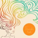 Vector a ilustração de uma menina bonita com cabelo ondulado longo Fotos de Stock Royalty Free