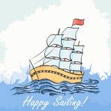 Vector a ilustração de uma navigação do navio no mar Desenho da mão ilustração stock