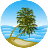 Vector a ilustração de uma paisagem do mar com uma palma Fotos de Stock