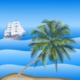 Vector a ilustração de uma paisagem do mar com uma palma Foto de Stock Royalty Free