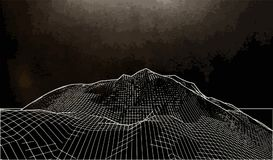 Vector a ilustração de uma paisagem tridimensional do wireframe em um fundo preto ilustração stock