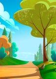 Vector a ilustração de uma paisagem verde bonita com a estrada às montanhas ilustração royalty free
